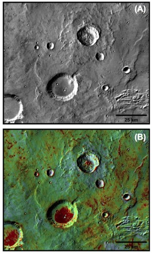 old Mars craters with rocky floors