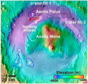 LONGER WET PERIOD. Crater-counting studies indicate water that which would have been tolerable to terrestrial organisms flowed into Gale Crater well into the Hesperian period. This is later in Martian history than scientists had previously thought. (Image taken from Figure 1 in the paper.)