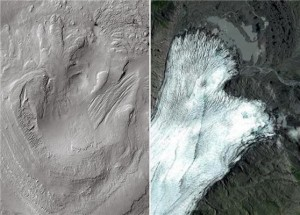 Left: Linear and lobate morphologies on the highest reaches of Aeolis Mons, shaped by glacial activity in the past. Right: Breiðamerkurjökull glacier, Iceland, a terrestrial analog of the glacial remains identified on Gale. Credit: CTX-MRO-NASA/Google maps