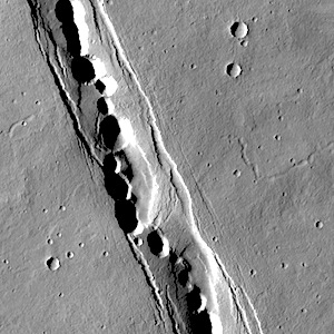 Pit craters in Cyane Fossae (THEMIS_IOTD_20140731)
