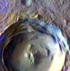 Isidis Planitia Crater false color (THEMIS_IOTD_20150330)