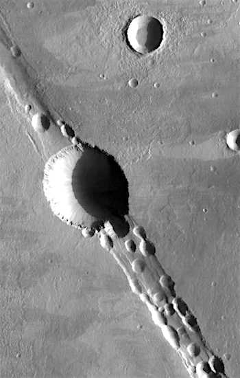 Pit craters in Cyane Fossae (THEMIS_IOTD_20160816)