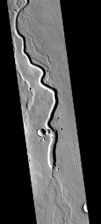 Lava channel on Hecates Tholus THEMIS Art #134 (THEMIS_IOTD_20170627)
