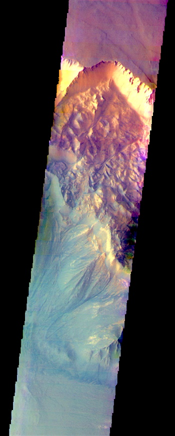 Melas Chasma landslide false color (THEMIS_IOTD_20170713)