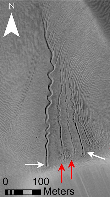 1509114430_Linear gullies on a dune in Matara Crater, Mars, Red and white arrows point to pits