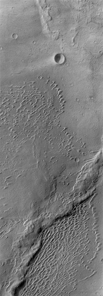 Wrinkle ridges, dunes, and wind streaks (THEMIS_IOTD_20171024)