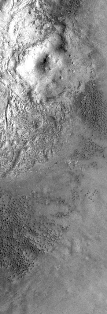 Dunes and pitted terrain in Moreux Crater (THEMIS_IOTD_20171114)