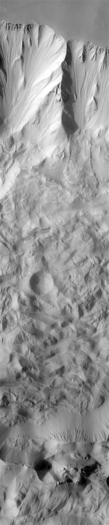 Colliding landslide rubble in Tithonium Chasma (THEMIS_IOTD_20180209)