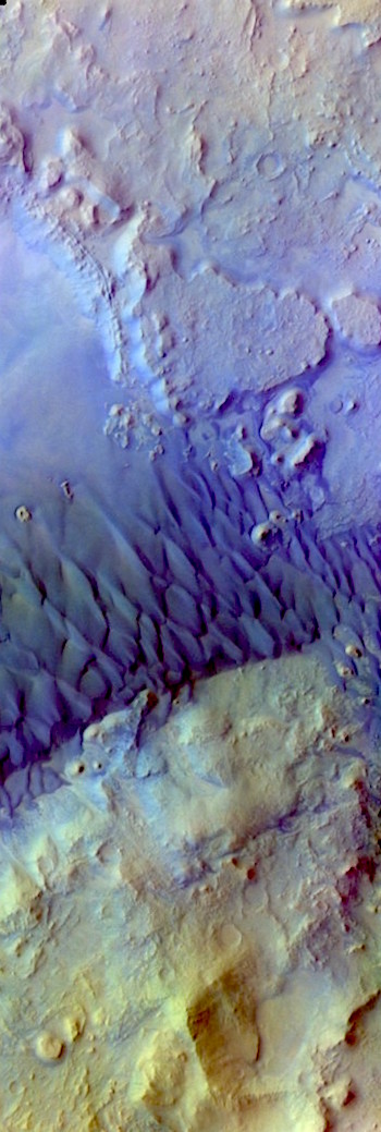 Arabia Terra dunes in false color (THEMIS_IOTD_20180323)