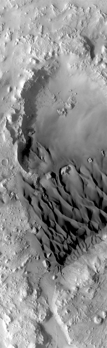 Crater feeding sand to dune field (THEMIS_IOTD_20180322)