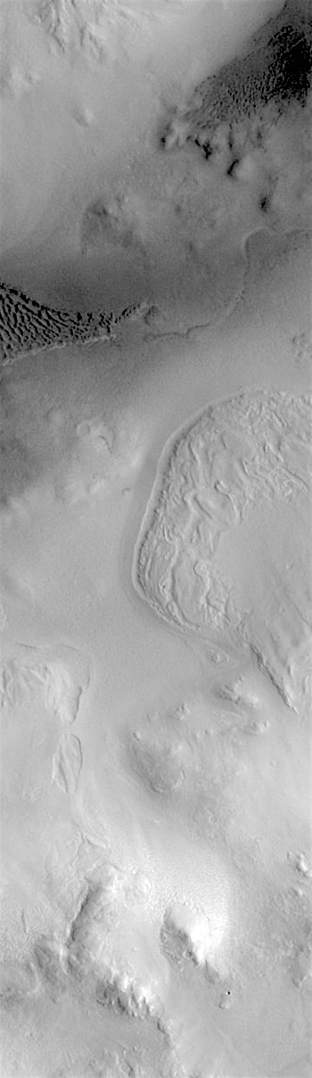 Dunes and soil creep in Lyot Crater (THEMIS_IOTD_20180411)