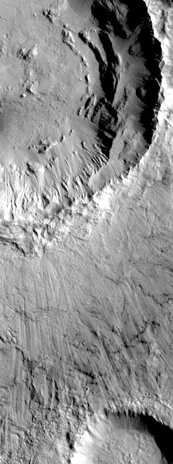 Impact blast scour at Bonestell Crater (THEMIS_IOTD_20180417)