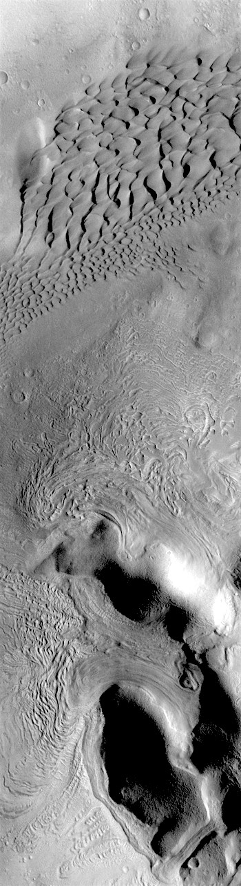Dunes and flowing debris in Moreux Crater (THEMIS_IOTD_20180530)