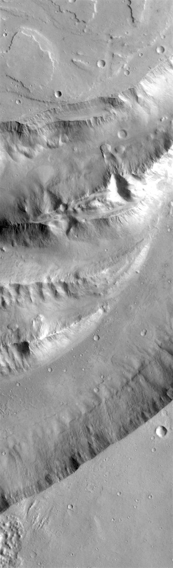 Dry waterfalls in Shalbatana Vallis (THEMIS_IOTD_20180607)