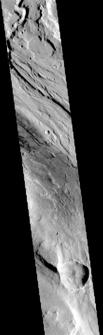 Ares Valles' long winding channel through rough terrain (THEMIS_IOTD_20180725)