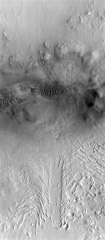 Dunes and ice flow in Terra Sabaea crater (THEMIS_IOTD_20180706)