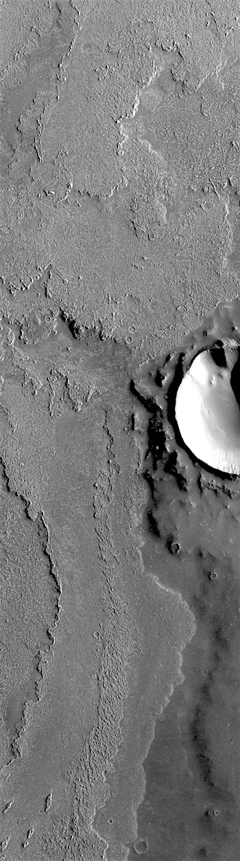 Lava flow dodges a crater on Daedalia Planum (THEMIS_IOTD_20180726)