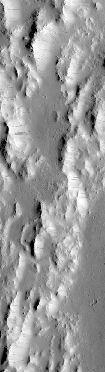 Dark streaks on rim of Orcus Patera (THEMIS_IOTD_20180815)
