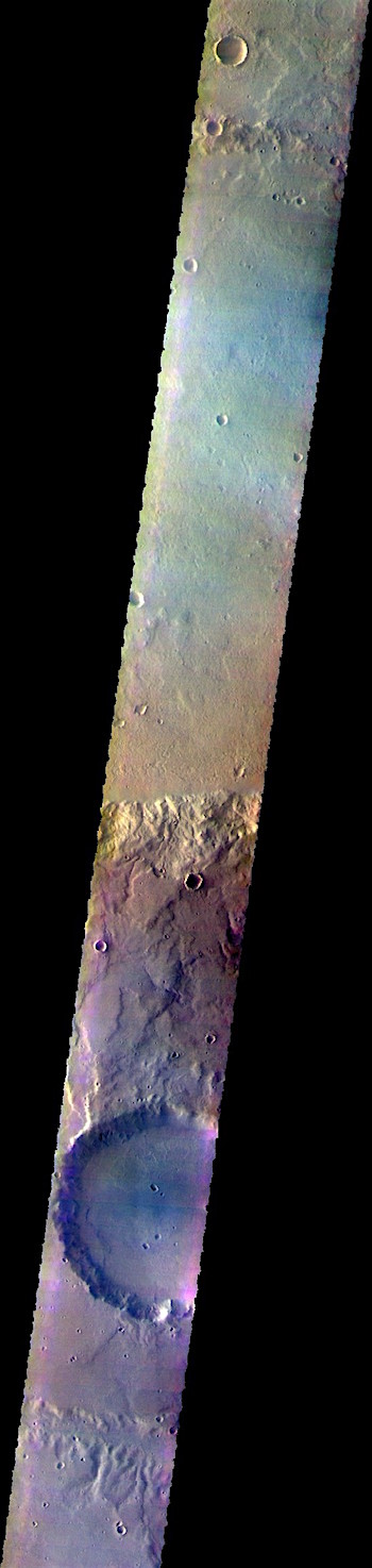 False-color crater and plains in Terra Cimmeria (THEMIS_IOTD_20180831)