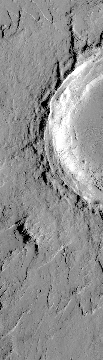 Layers of ejecta around crater in Tharsis (THEMIS_IOTD_20180823)