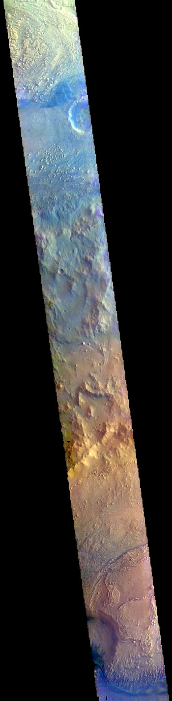 Crater mounds in false color