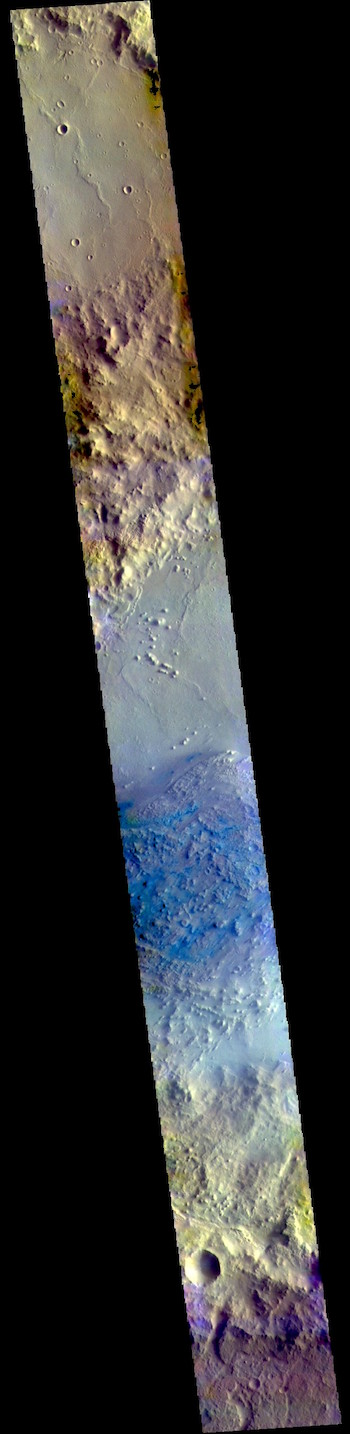 Pasteur Crater in false color (THEMIS_IOTD_20190220)