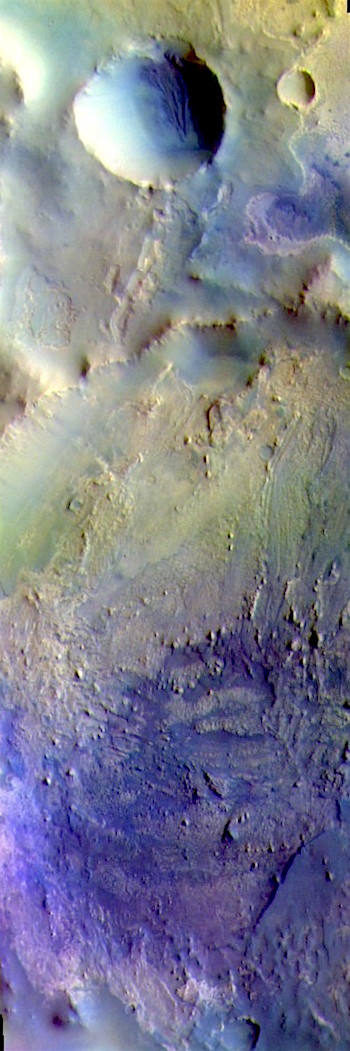 Arabia Terra crater in false color (THEMIS_IOTD_20190523)