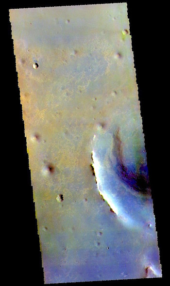Endeavour Crater in false color (THEMIS_IOTD_20190515)